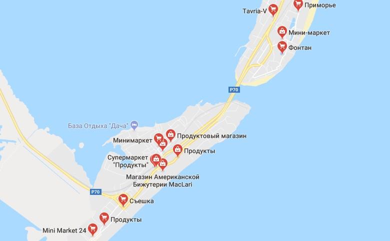 Карта магазинов и рынков в Затоке